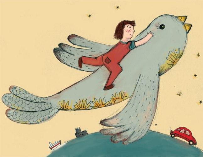 Otto viaja nas costas de um pássaro (que está dentro de um livro)